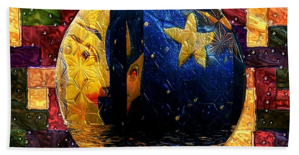 Moon Hand Towel featuring the painting The Moon Has A Bath by RC DeWinter