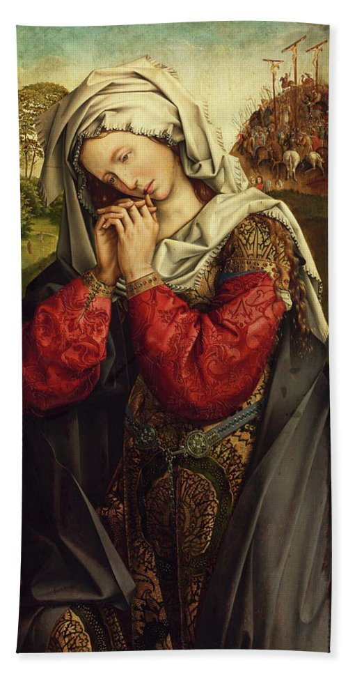 Colijn De Coter Hand Towel featuring the painting The Mourning Mary Magdalene by Colijn de Coter
