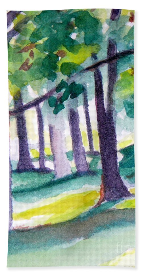 Nature Bath Towel featuring the painting The Perfect Day by Jan Bennicoff