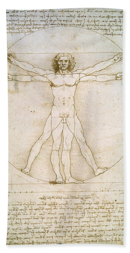The Bath Towel featuring the drawing The Proportions Of The Human Figure by Leonardo da Vinci