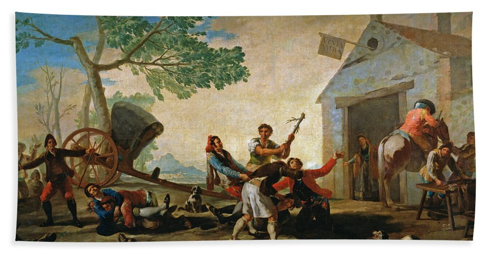 Europe Hand Towel featuring the painting The Quarrel In The New Tavern by Francisco Goya