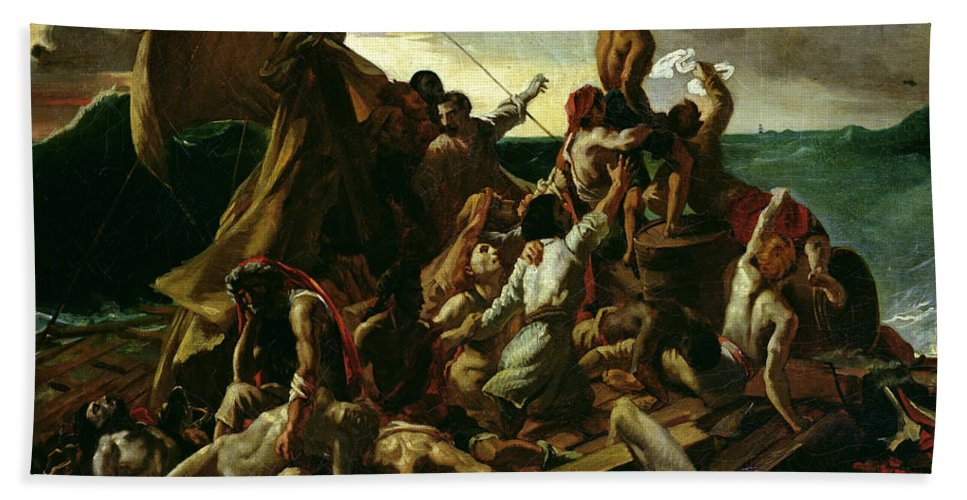 The Raft Of The Medusa Hand Towel featuring the painting The Raft Of The Medusa by Theodore Gericault