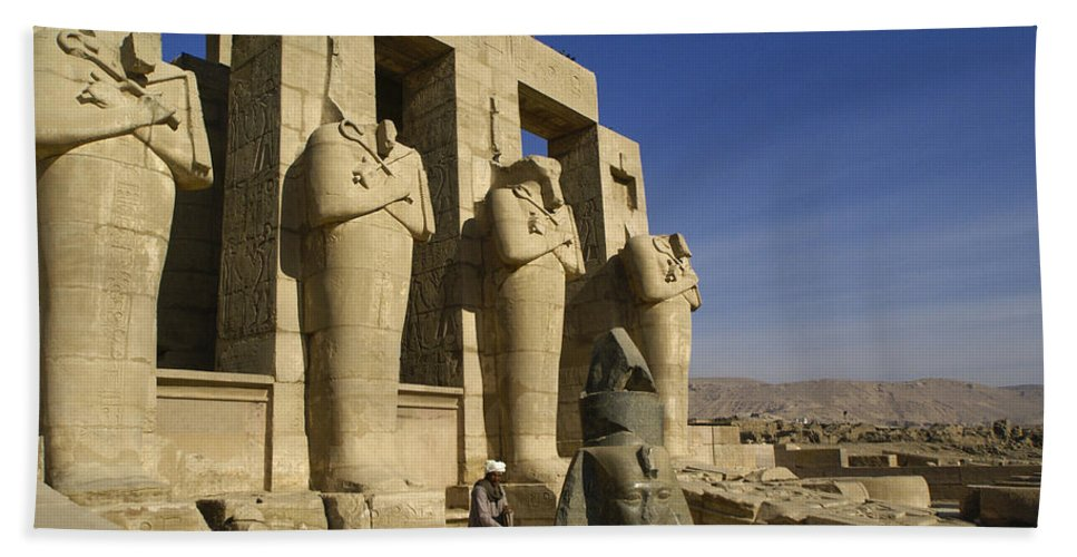 Egypt Hand Towel featuring the photograph The Ramesseum by Michele Burgess