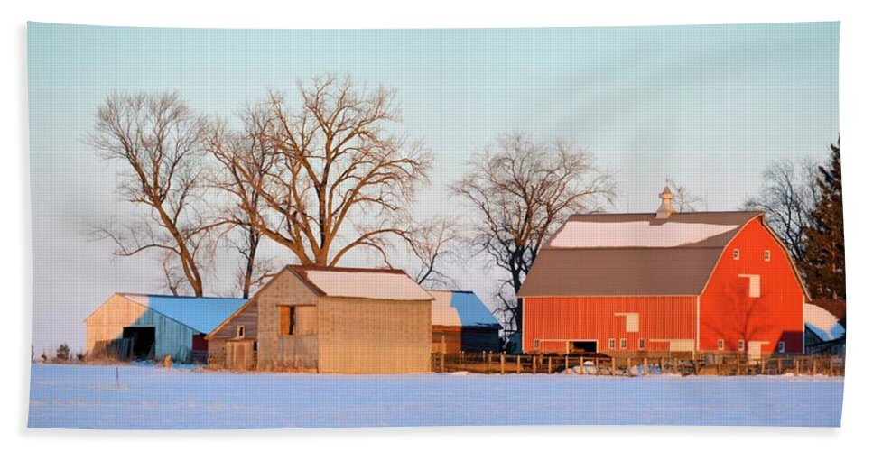 Barn Hand Towel featuring the photograph The Red Barn by Bonfire Photography