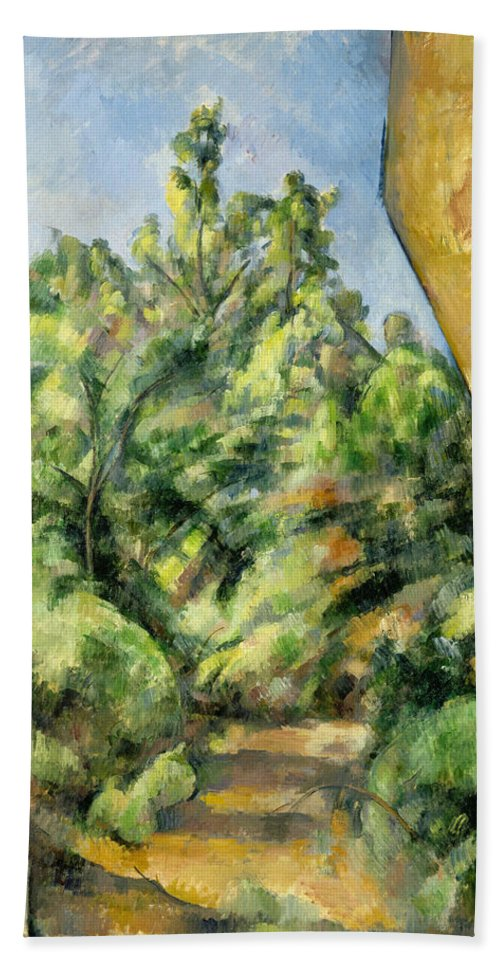 Europe Hand Towel featuring the painting The Red Rock by Paul Cezanne