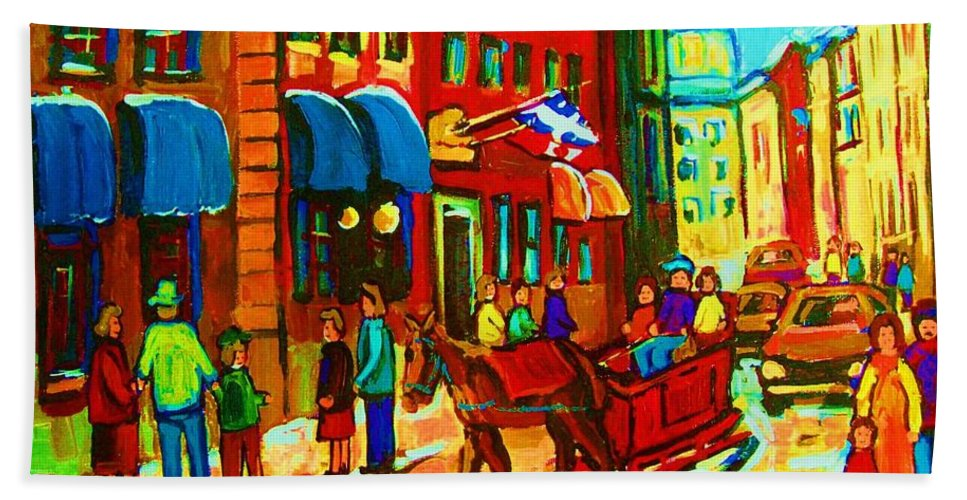 Montreal Bath Towel featuring the painting The Red Sled by Carole Spandau