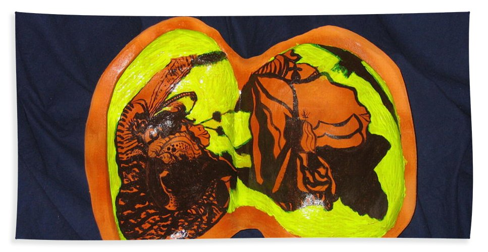 Jesus Bath Sheet featuring the sculpture The Road To Bethlehem by Gloria Ssali