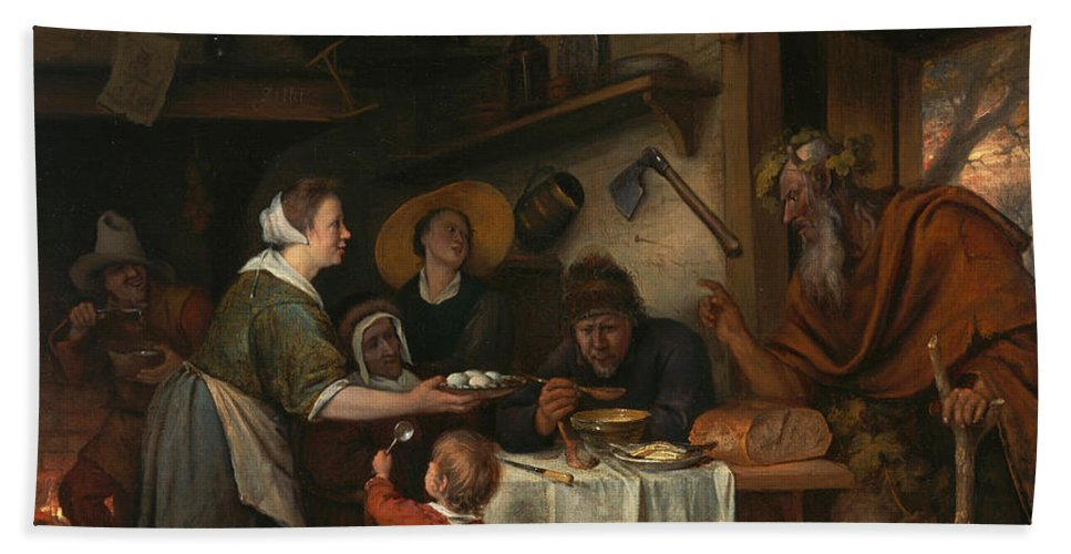 Baroque Hand Towel featuring the painting The Satyr And The Peasant Family by Jan Steen