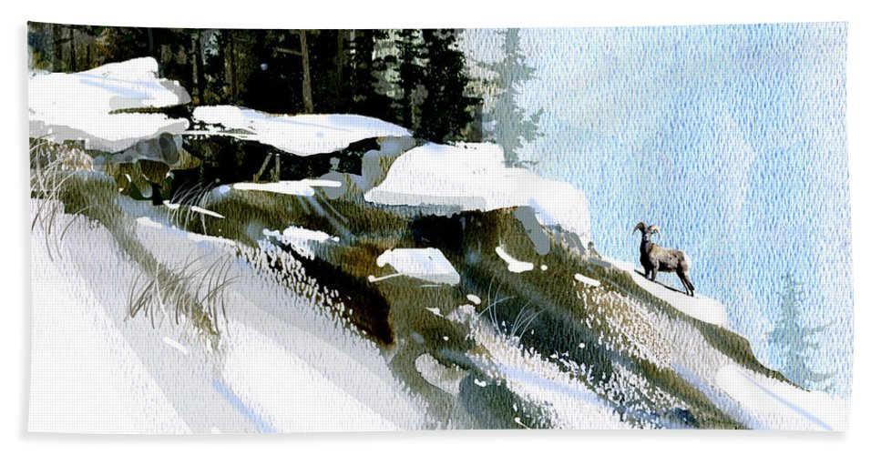 Winter Hand Towel featuring the painting The Steep Climb by Paul Sachtleben