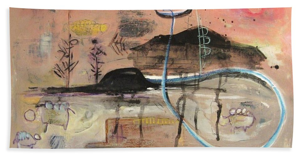 Acrylic Paper Canvas Abstract Contemporary Landscape Dusk Twilight Countryside Bath Sheet featuring the painting The Tempo Of A Day by Seon-Jeong Kim