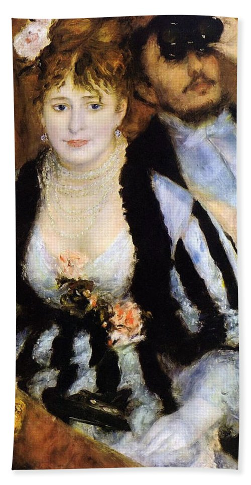 Couple Hand Towel featuring the painting The Theater Box by Pierre-Auguste Renoir