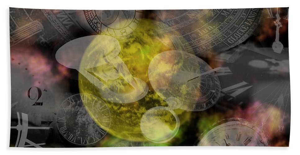 Chaos Hand Towel featuring the painting The Time Is Out Of Joint by RC DeWinter