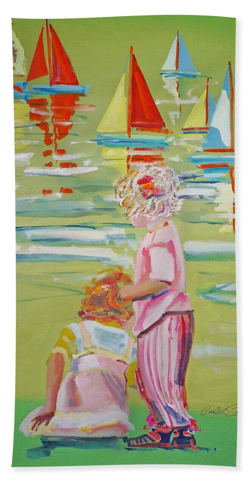 Yachts Hand Towel featuring the mixed media The Toy Regatta by Charles Stuart