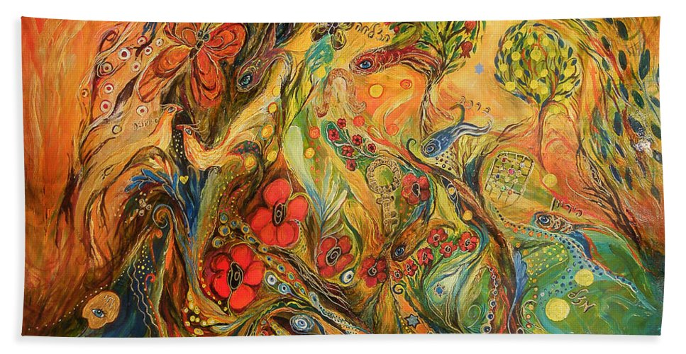 Original Bath Sheet featuring the painting The True Love by Elena Kotliarker