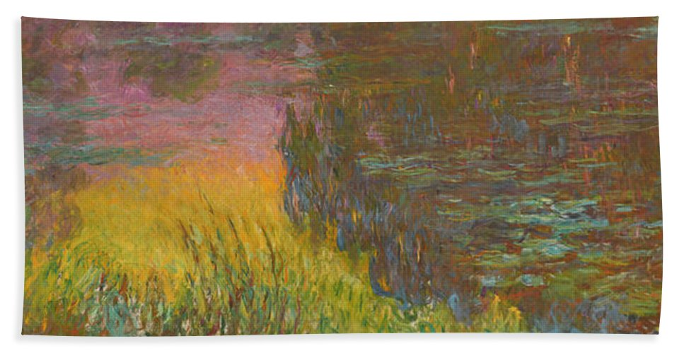 The Water Lilies Bath Sheet featuring the painting The Water Lilies, Setting Sun by Claude Monet
