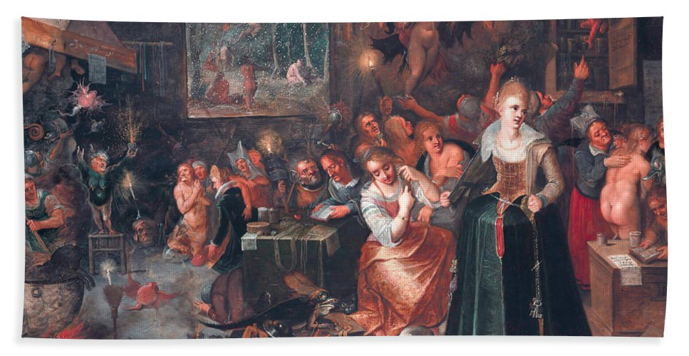 17th Century Art Hand Towel featuring the painting The Witches' Sabbath by Frans Francken the Younger