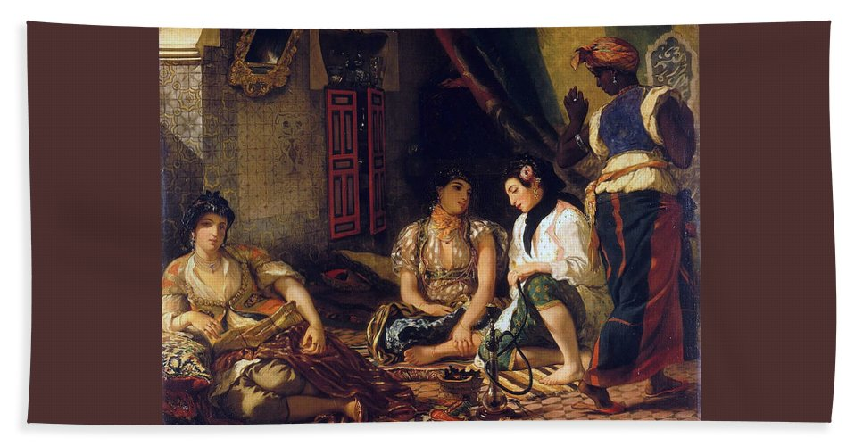Eugene Delacroix Hand Towel featuring the painting The Women Of Algiers In Their Apartment by Eugene Delacroix