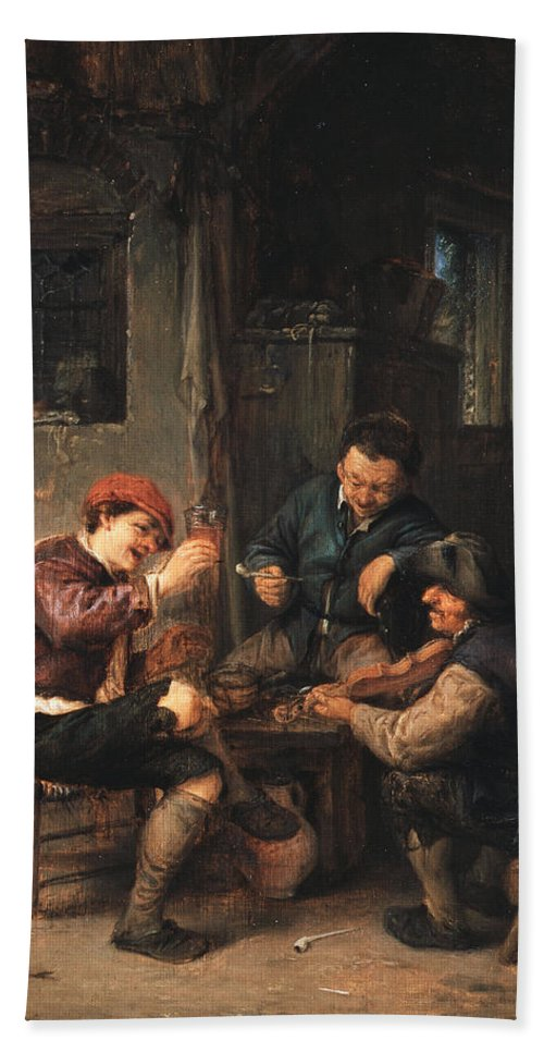 Adriaen Jansz Hendricx Hand Towel featuring the painting Three Peasants At An Inn by Adriaen van Ostade