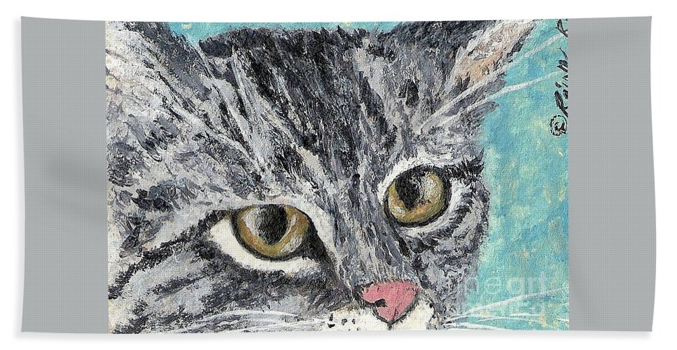Cats Hand Towel featuring the painting Tiger Cat by Reina Resto