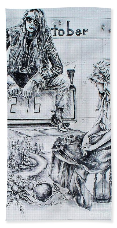 Graphite Pencil Hand Towel featuring the drawing Time Between Women by Linda Shackelford