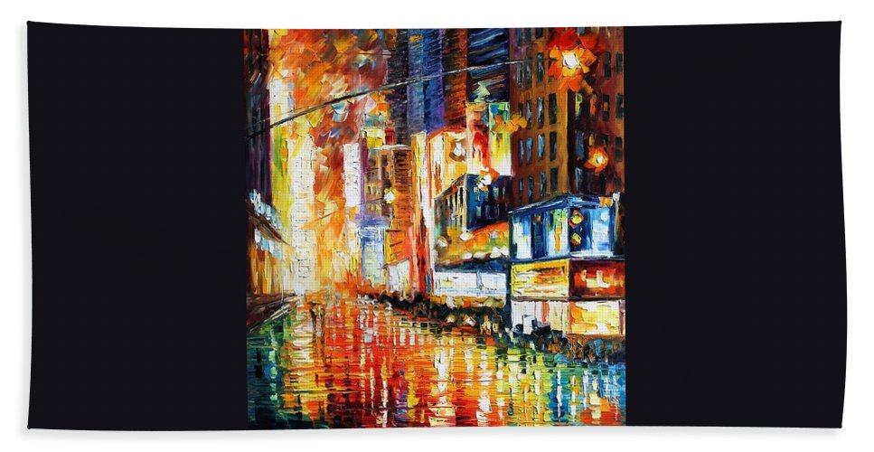 Afremov Bath Sheet featuring the painting Times Square by Leonid Afremov