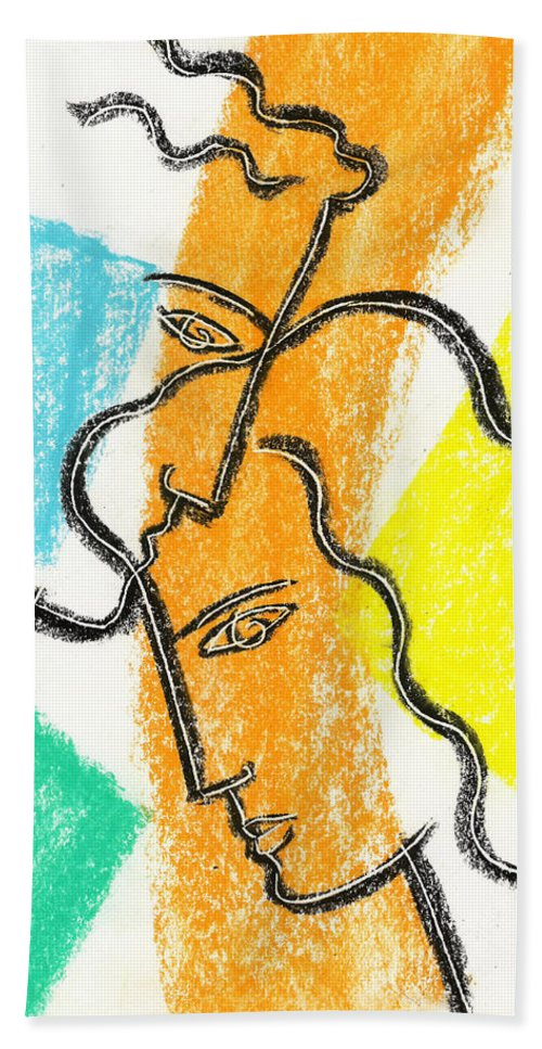 Balance Bonding Boyfriend Color Color Image Colour Connecting Connection Couple Drawing Face Female Friend Friendship Girlfriend Head Husband Illustration Illustration And Painting Jointly Lineart Male Man Men And Women People Person Profile Side View Spouse Supportive Sweetheart Together Unification Unifying Vertical Wife Woman Hand Towel featuring the painting Together by Leon Zernitsky