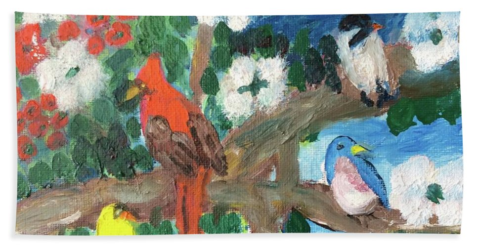 Fine Art Hand Towel featuring the painting Togetherness by John Russo