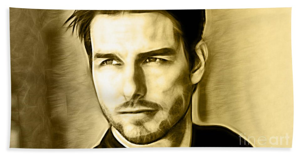 Tom Cruise Bath Sheet featuring the mixed media Tom Cruise Collection by Marvin Blaine