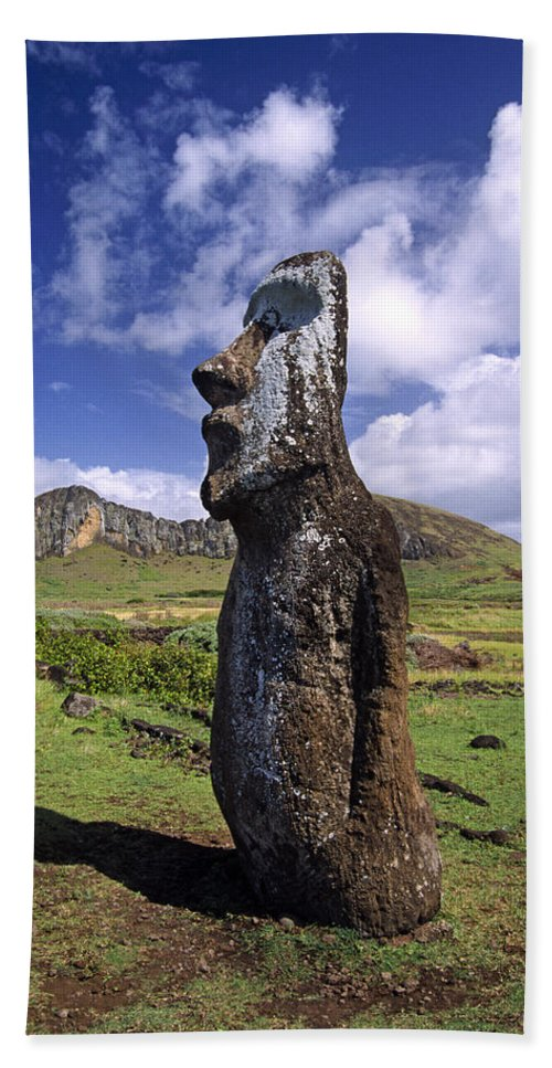 Easter Island Hand Towel featuring the photograph Tongariki Moai On Easter Island by Michele Burgess