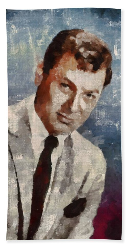Tony Bath Towel featuring the painting Tony Curtis Vintage Hollywood Actor by Mary Bassett