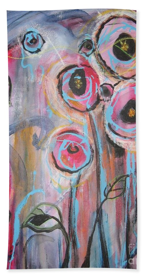 Aabstract Paintings Bath Towel featuring the painting Too Many Temptations by Seon-Jeong Kim