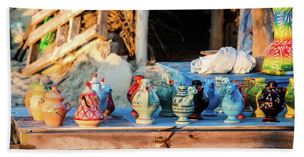 Africa Bath Sheet featuring the photograph traditional tunis ceramics, Djerba, 07 Nov 2014 by Josef Pliva