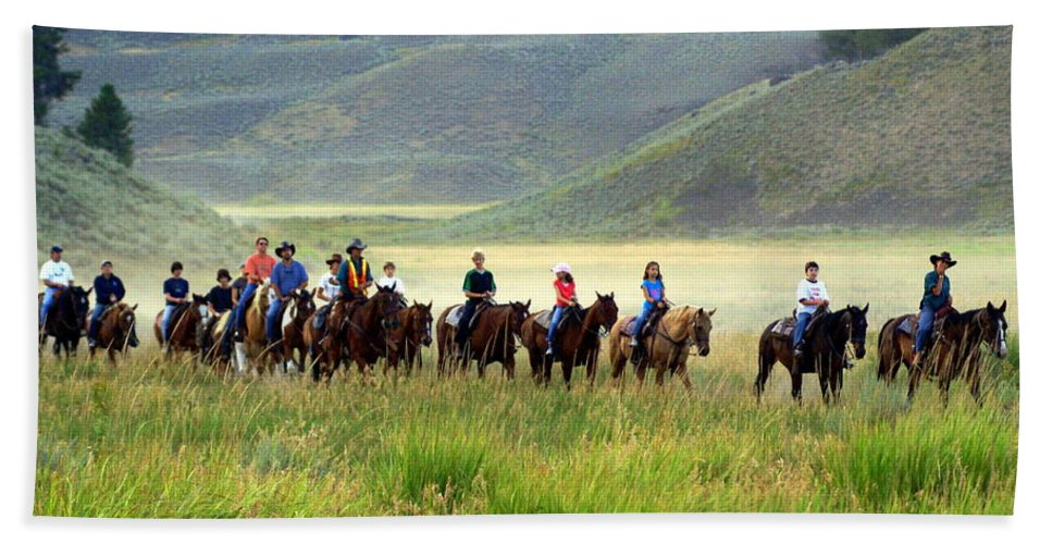 Trail Ride Bath Sheet featuring the photograph Trail Ride by Marty Koch