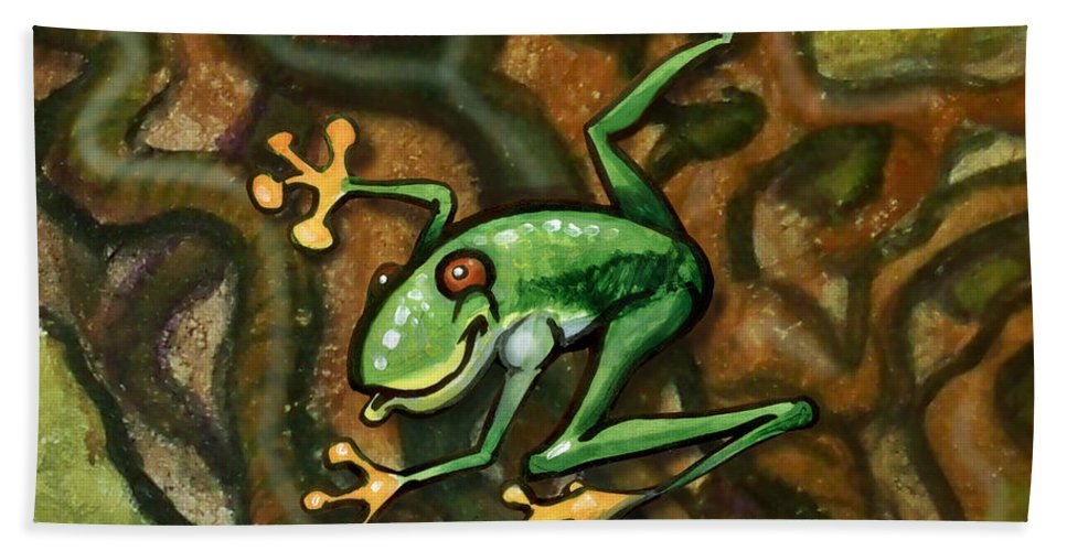 Tree Hand Towel featuring the painting Tree Frog by Kevin Middleton