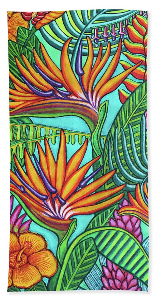 Tropical Hand Towel featuring the painting Tropical Gems by Lisa Lorenz