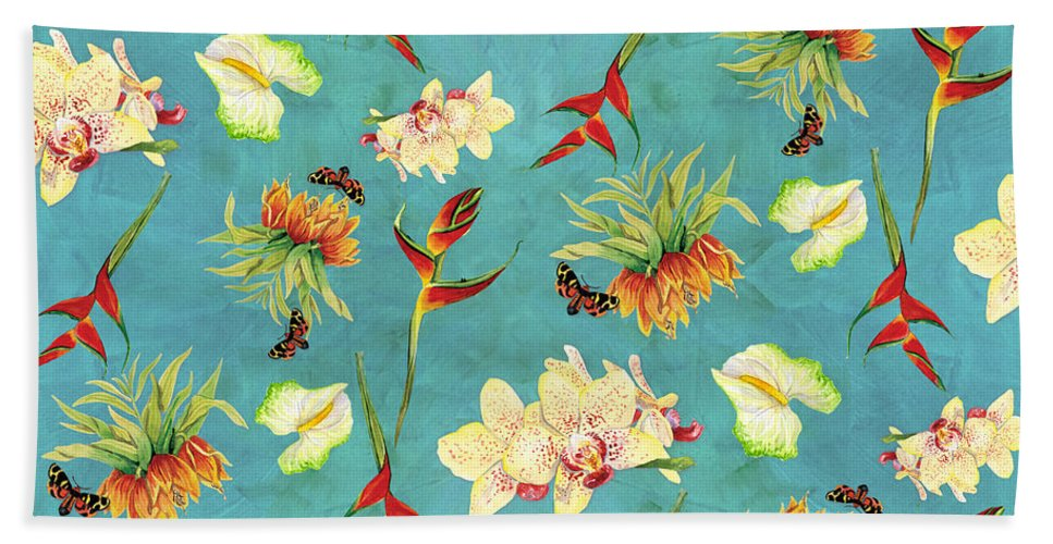 Orchid Bath Towel featuring the painting Tropical Island Floral Half Drop Pattern by Audrey Jeanne Roberts