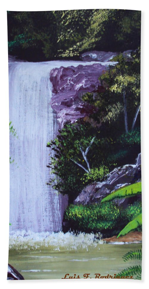 Tropical Hand Towel featuring the painting Tropical Waterfall by Luis F Rodriguez