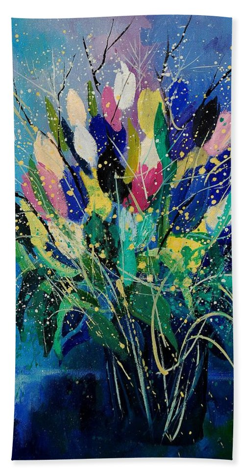 Flowers Bath Towel featuring the painting Tulips 45 by Pol Ledent
