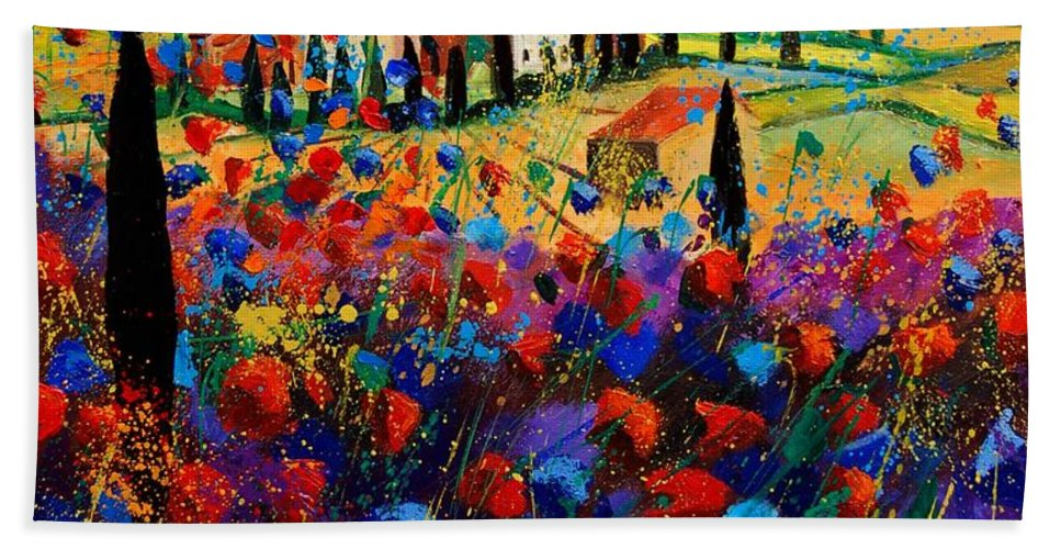 Flowers Bath Sheet featuring the painting Tuscany Poppies by Pol Ledent
