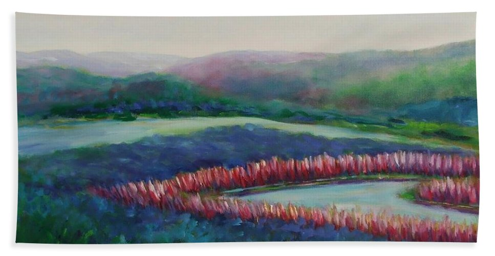 Landscape Hand Towel featuring the painting Tweet Stream by Shannon Grissom