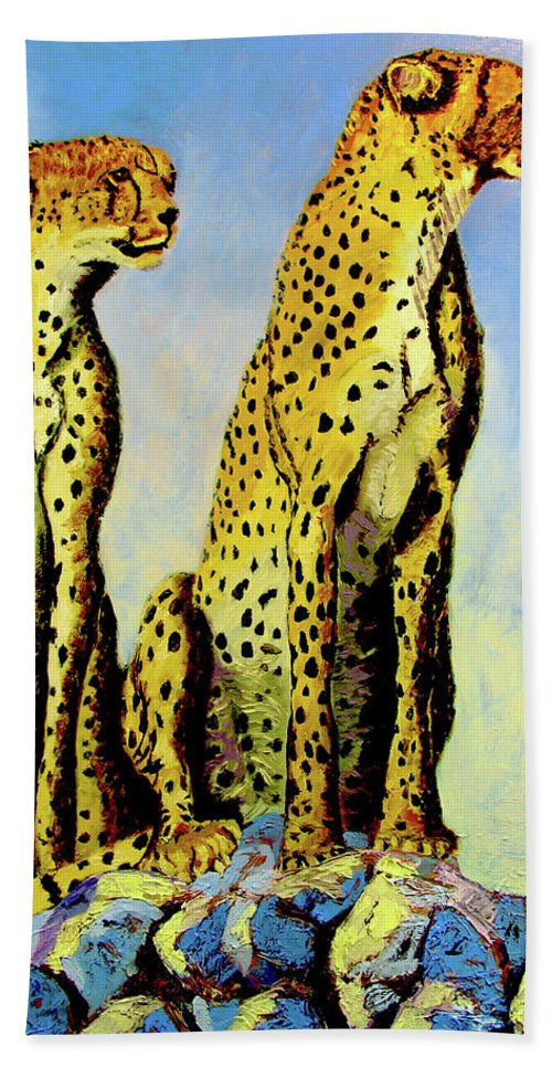 Cheetahs Hand Towel featuring the painting Two Cheetahs by Stan Hamilton