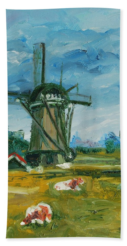 Farm Bath Towel featuring the painting Two Cows by Rick Nederlof