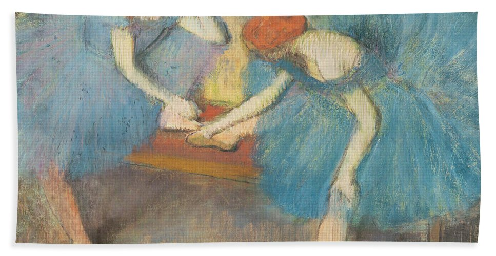 2 Bath Sheet featuring the pastel Two Dancers At Rest by Edgar Degas