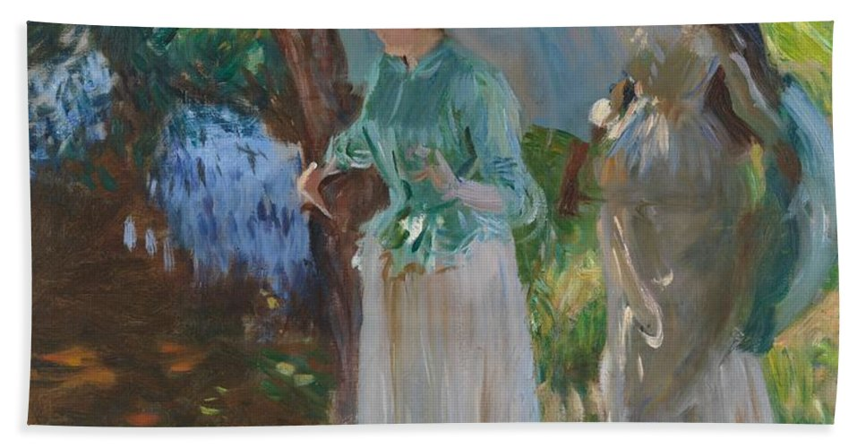 John Singer Sargent Hand Towel featuring the painting Two Girls With Parasols by John Singer Sargent