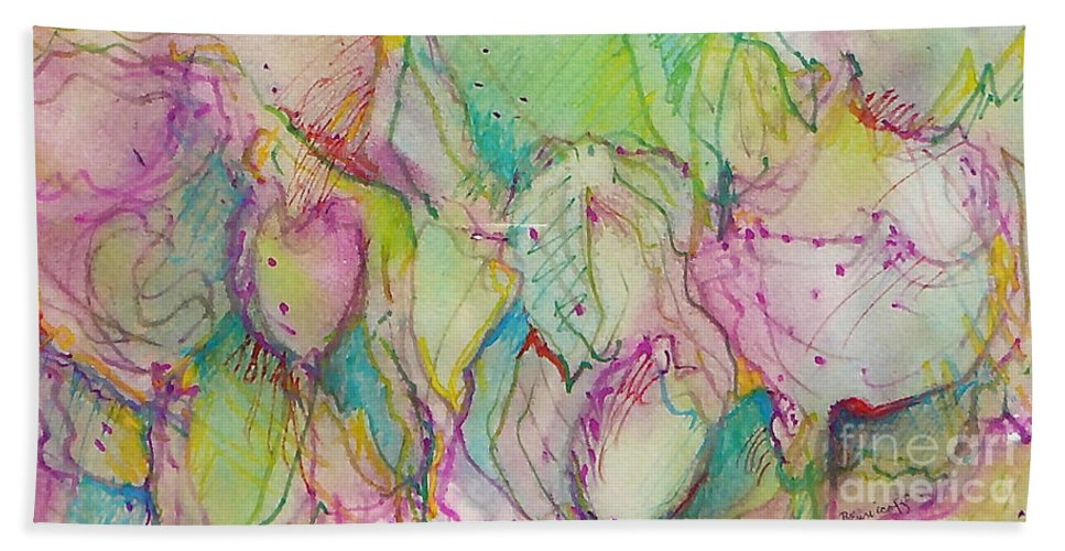 Abstract Bath Sheet featuring the painting Two Lips by Jan Bennicoff