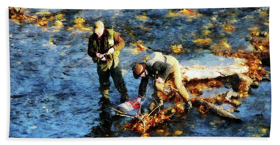 Nature Bath Sheet featuring the photograph Two Men Fishing by Susan Savad