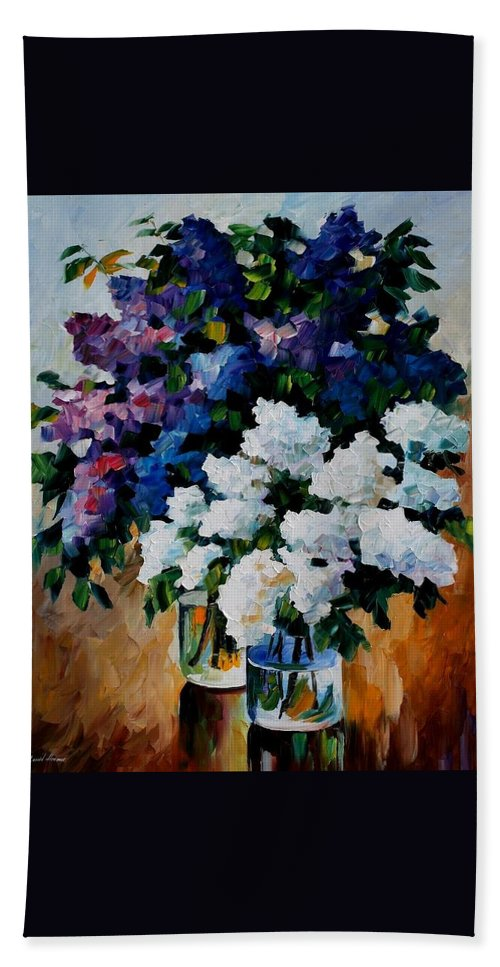 Afremov Hand Towel featuring the painting Two Spring Colors by Leonid Afremov