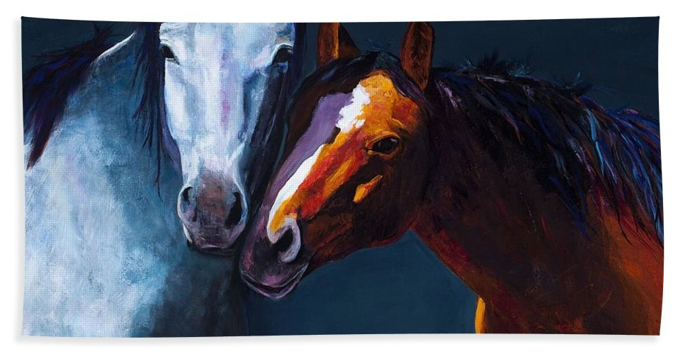 Horses Bath Sheet featuring the painting Unbridled Love by Frances Marino