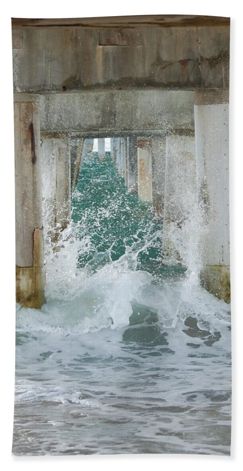 Ocean Hand Towel featuring the photograph Under The Boardwalk by Rob Hans