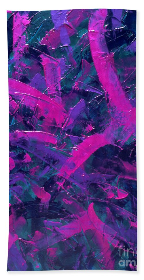 Abstract Bath Sheet featuring the painting Untitled by Dean Triolo